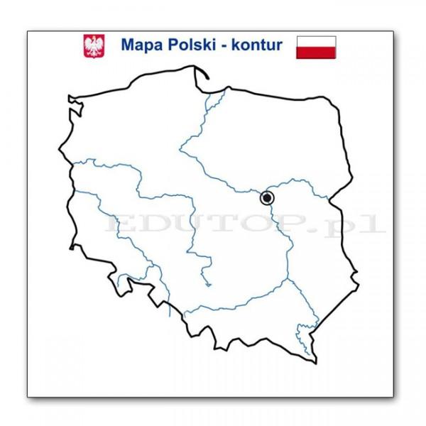 Konturowa Mapa Polski Rzekami